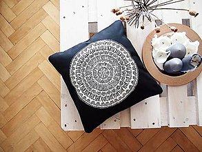 Úžitkový textil - Povlak z mandalovej série-sivobiely 40x40 cm - 8187243_