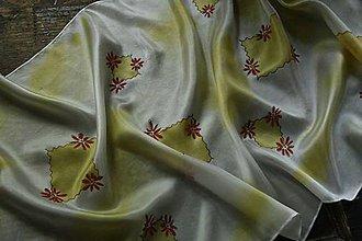 Šály - Žltý kvetinkový šál - 8188817_