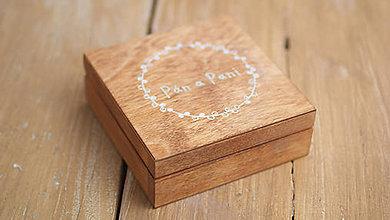 Krabičky - Drevená krabička na prstienky - 8188704_