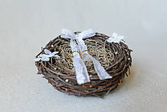 Prstene - Vintage hniezdo na svadobné obrúčky - 8187679_