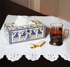 Krabičky - Ručne maľovaný servitkovník s jeleňmi - 8188017_