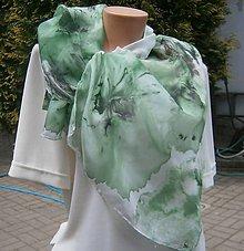 Šály - Velké zelené květy. 45 x 160 cm. - 8189281_