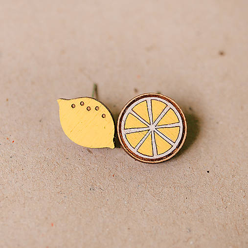 Náušnice - citrón - napichovačky - 8189351_