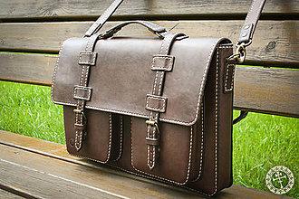 Na notebook - Ručne šitá kožená taška A - 8188743_