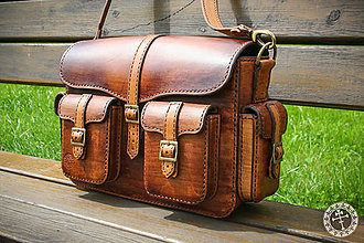 Iné tašky - Ručne šitá kožená taška C - 8188774_