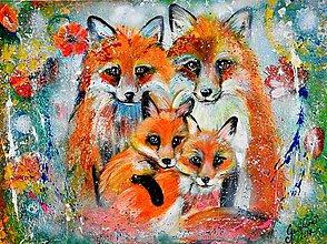 Obrazy - líšky , líščia rodina do detskej izby - 8187994_