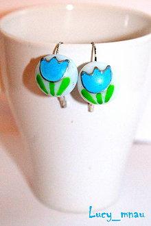Náušnice - Náušničky tulipány bledo-modré :) - 8187000_