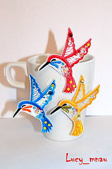 Odznaky/Brošne - Sada brošničiek: farebné vtáčiky :) - 8189372_