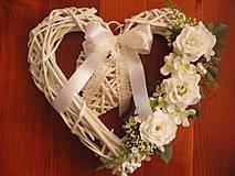 Dekorácie - Bielo - ivory srdce 30cm - 8189995_