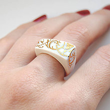 Prstene - Prsteň zlatý ornament / RING RING - gold - 8187129_