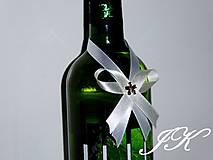 Darčeky pre svadobčanov - Mašličky na fľaše - 8189513_