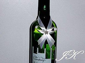 Darčeky pre svadobčanov - Mašličky na fľaše - 8189514_