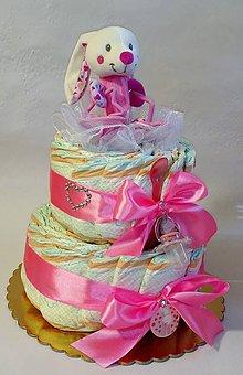 Hračky - plienková torta pre dievča - 8191778_