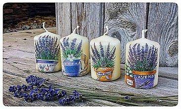 Svietidlá a sviečky - Set 4 ks sviečok s motívom levandule - 8193764_