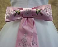 Opasky - maľovaná mašľa - ružový satén - 8190447_