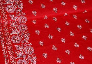 Textil - Látka Folk Bordúra na červenej - 8193522_