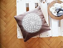 - Povlak z mandalovej série-hnedo-biely 40x40 cm - 8190511_