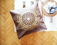 Úžitkový textil - Povlak z mandalovej série-hnedo-zlatý 50x50 - 8192008_