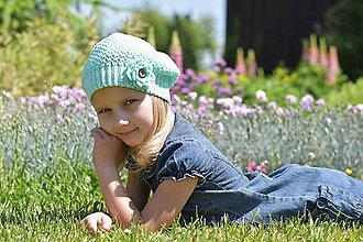 Detské čiapky - Mentolová baretka - 8193434_