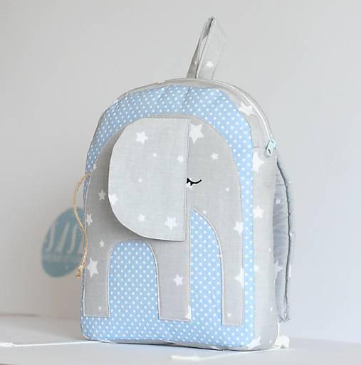 Detské tašky - RUKSAK sloník šedo - svetlo modrý, 1,5 r. - 8193824_