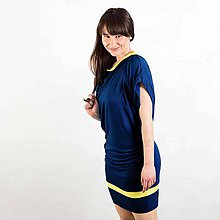 Šaty - Tmavé modré riasene šaty (D2) - 8191090_