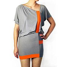 Sukne - Šedé geometrické šaty (D3) - 8193236_