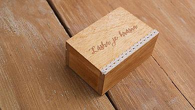 Prstene - Drevená krabička na prstienky mini - 8190786_