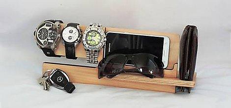 Pomôcky - Drevený stojan na mobil a hodinky - 8193675_