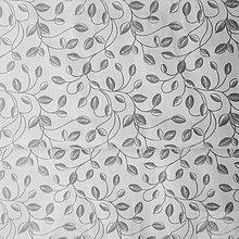 Textil - sivé lístky; 100 % bavlna, šírka 140 cm, cena za 0,5 m - 8191684_