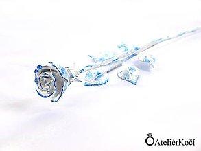 Dekorácie - Kovaná růžička - modrobílá - 8191115_