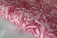 Textil - dizajnová bavlnená látka ružová ruže  - 8190977_