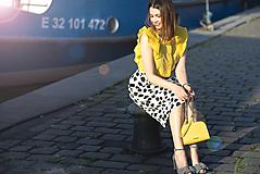 Sukne - Čierno-biela sukňa s bodkami - 8193425_