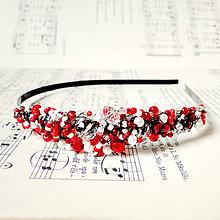 Ozdoby do vlasov - Romantic Red HeadBand / Korálková čelenka červeno-biela  /0575 - 8195878_
