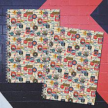 Papiernictvo - MADEBOOK 2 x špirálový zošit A5 - RETRO cestovanie - 8194993_