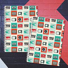Papiernictvo - MADEBOOK 2 x špirálový zošit A5 - RETRO hudba - 8195012_