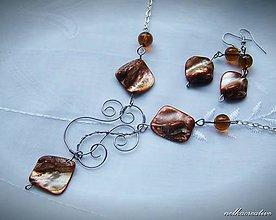 Sady šperkov - Karamelová... /farbená perleť/ - 8196011_