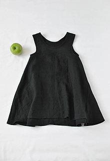 Detské oblečenie - Dievčenské ľanové šatočky čierne - 8194267_