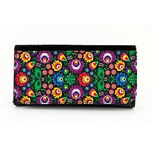 Peňaženky - Peňaženka farebné folk kvety - biela a čierna - 8195636_