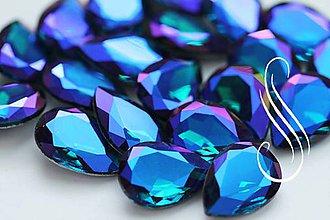 Komponenty - kabošon sklenený blue ametyst drop 13x18 - 8194754_
