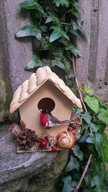 Dekorácie - Vtáčia búdka s prírodnými doplnkami - 8194049_
