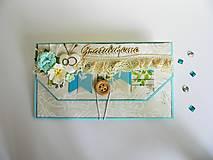 Papiernictvo - Obálka na peniaze - K svadbe, modrá - 8195472_
