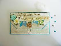 Papiernictvo - Obálka na peniaze - K svadbe, modrá - 8195473_