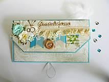 Papiernictvo - Obálka na peniaze - K svadbe, modrá - 8195476_