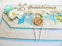 Papiernictvo - Obálka na peniaze - K svadbe, modrá - 8195478_