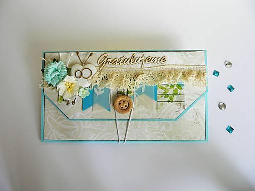 Obálka na peniaze - K svadbe, modrá