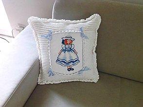 Úžitkový textil - Háčkovaný polštář-panenka - 8197418_