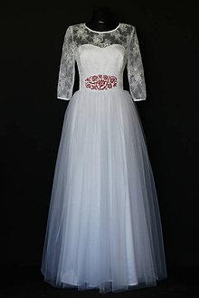 462f387f5e92 Šaty - Svadobné šaty s tylovou sukňou a vyšívaným folk opaskom - 8194929