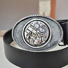 Opasky - Černý kožený steampunkový opasek stříbrná spona - 8197899_