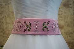 Opasky - maľovaný opasok - ružový satén - 8200351_