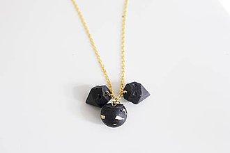 Náhrdelníky - Betónový mix trio náhrdelník black/gold - 8198807_